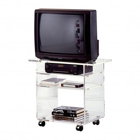 Mueble Tv Con Ruedas Tldn Mesa De Tv Minimalista Con Ruedas Acabado Transparente Muambi