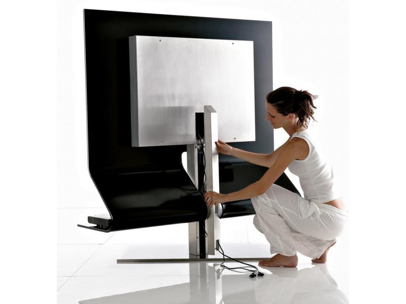 Mueble Tv Giratorio 360 Kvdd Mueble Tv Giratorio De Cristal Negro Brillo O Extra Blanco Cristal