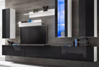 Mueble Tv Pared D0dg Muebles De Pared De Tv Con Luces Led Negro Brillante 8 Piezas