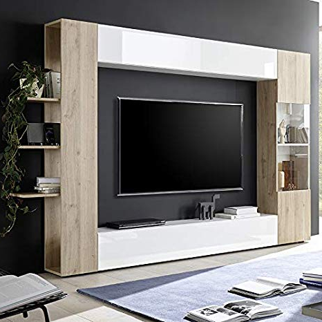 Mueble Tv Pared Nkde Nouvomeuble Mueble Tv Pared Color Blanco Y Roble Moderno