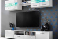 Mueble Tv Pared Tldn Tidyard 5 Piezas Mueble Salà N Edor Moderno Mesa Para Tv Mueble Tv De Pared Con Led Y Puertas Plegables Estilo Contemporà Neo Blanco Brillante