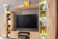 Mueble Tv Pared Zwd9 Mueble De Salà N De Pared Para Tv Con Luces Led Roble sonoma