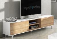 Mueble Tv Roble D0dg Mueble Tv De Salon Modulo Bajo Y Estante nordico Blanco Y Roble