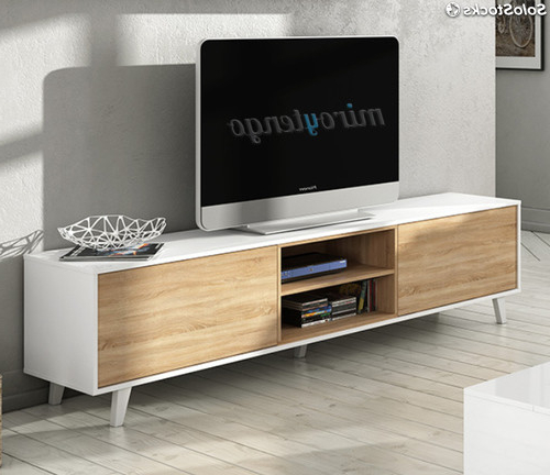 Mueble Tv Roble D0dg Mueble Tv De Salon Modulo Bajo Y Estante nordico Blanco Y Roble