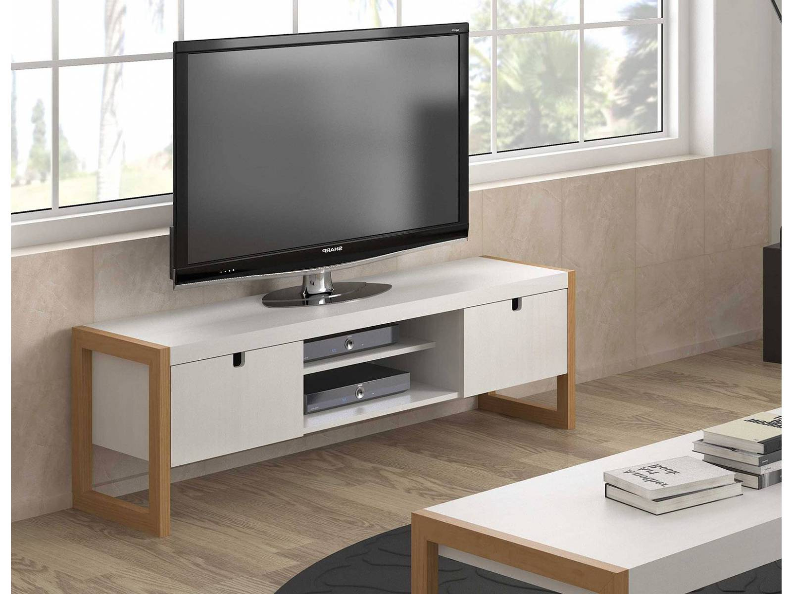 Mueble Tv Roble Ftd8 Mueble Tv 140 Cm Square Blanco Roble