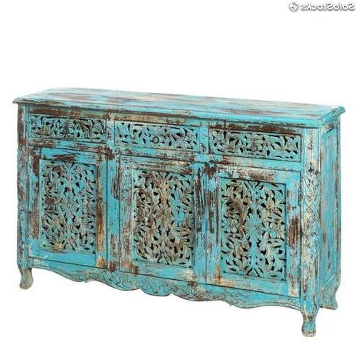 Muebles Arabes 9fdy Aparador Azul Madera à Rabe Muebles 140x40x90cm