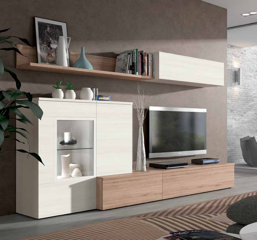Muebles Blanco Wddj Mueble De Salà N Roble Natural Y Blanco Polar Muebles Adama Tienda