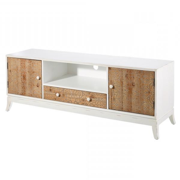 Muebles Blancos Y Madera O2d5 Mueble De Tv Blanco De Madera De 1 Cajà N Y 2 Puertas A Home