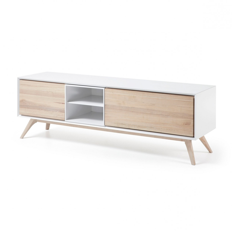 Muebles Blancos Y Madera Xtd6 Mesa De Madera Quatre Para Televisor Estilo Moderno Y Color Blanco