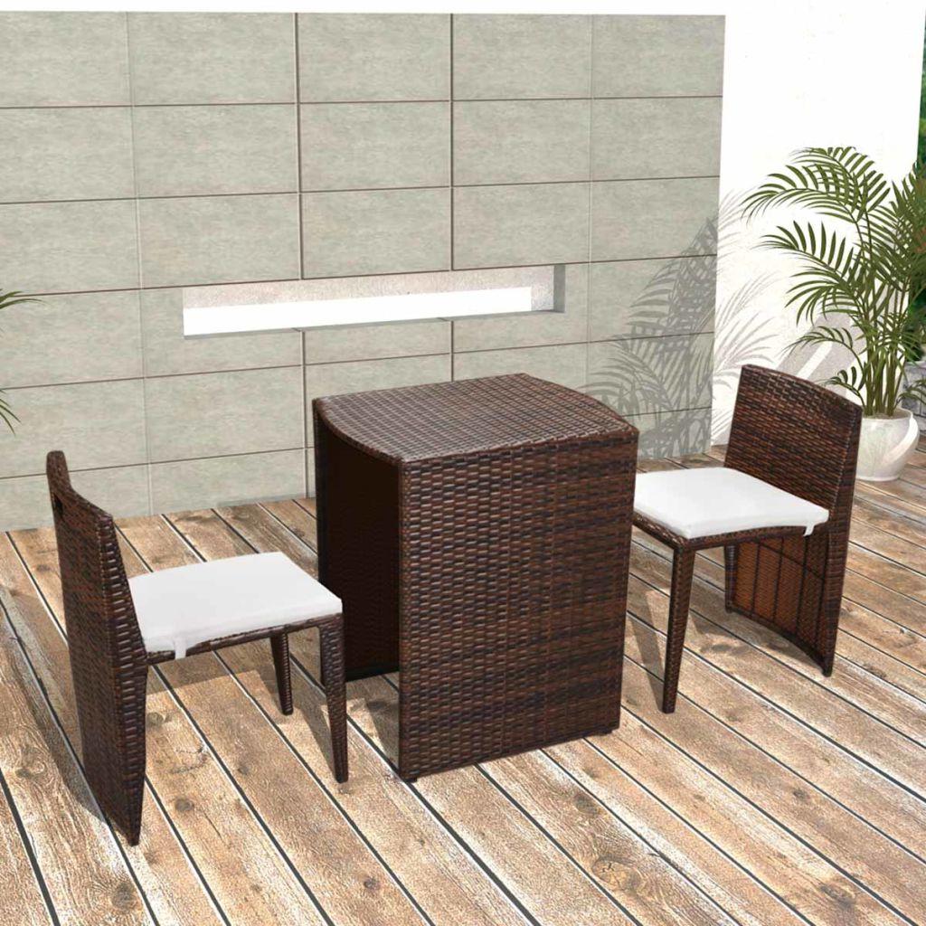 Muebles De Balcon Gdd0 Vidaxl Set De Muebles De Balcà N De Ratà N Marrà N Cojines De Tela