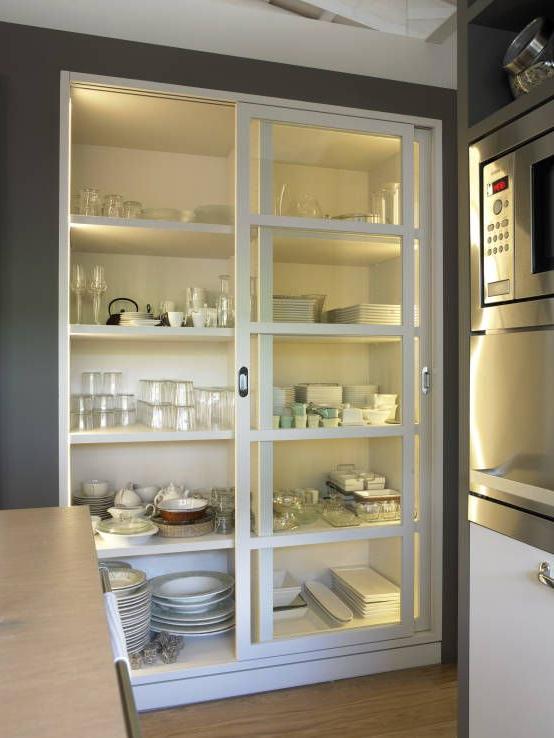 Muebles De Cocina Online 9fdy Mueble Vajillero Con Iluminacià N Interior Y Puertas Correderas