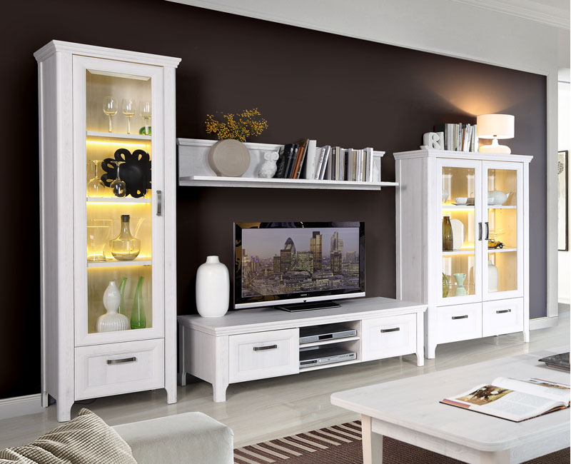 Muebles De Comedor Blancos E6d5 Mueble De Salà N Edor En Roble Blanco De 320 Cms Con Luces Leds