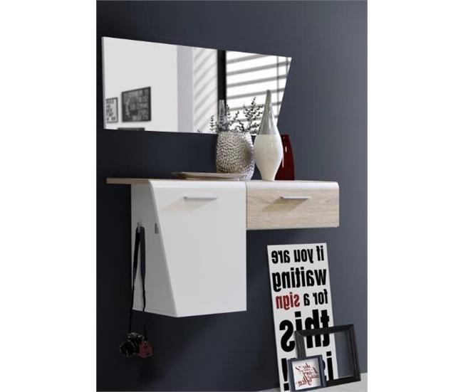 Muebles De Entrada Conforama Ipdd Mueble Recibidor Con Espejo Kando Blanco Y Roble Conforama