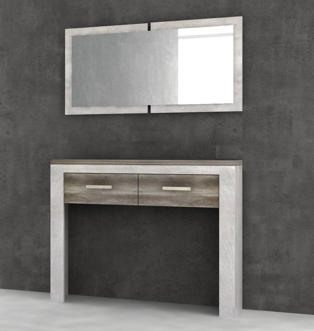 Muebles De Entrada Conforama Mndw Mueble Recibidor Con Espejo Verona Roble Antiguo Y Pino Blanco