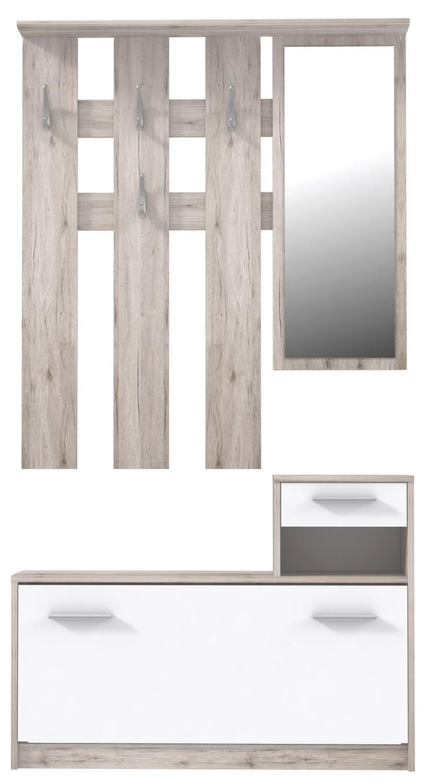 Muebles De Entrada Conforama O2d5 Mueble Recibidor Con Espejo Y Zapatero Foxi Roble arena Y Blanco