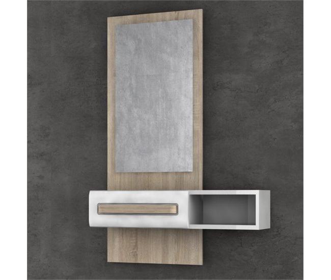 Muebles De Entrada Conforama X8d1 Mueble Recibidor Con Espejo Montreal Roble sonoma Y Blanco Conforama