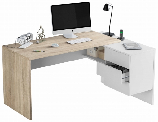 Muebles De Escritorio Zwd9 Mueble Escritorio Con 2 Cajones Buck Anexo 1 Hueco Color Blanco Y Roble 145x108x73