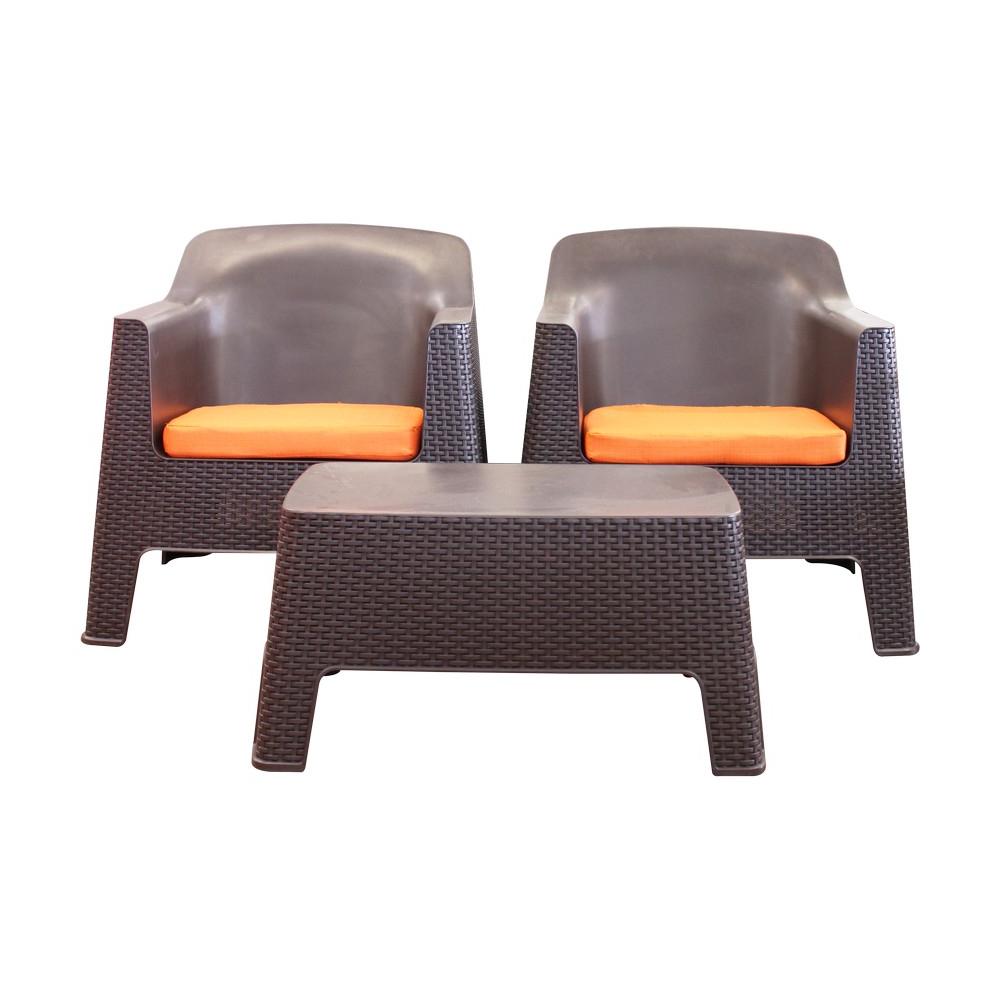 Muebles De Plastico 3id6 Mueble De Sala Cafà Rattà N Plà Stico Con Cojines Naranja 3 Piezas