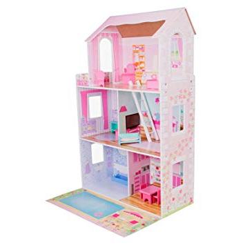 Muebles En Miniatura Para Casas De Muñecas 3ldq BoppiCasa De Muà Ecas De Madera Para Nià as Con 3 Pisos 15 Muebles Para Jugar