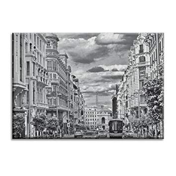 Muebles Gran Via Etdg Panel De La Lona Lienzo Espaà A Gran Via De Madrid Y Negro Blanco