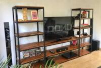 Muebles Hierro Y Madera Drdp Mueble Tv Rack Estantes Biblioteca Industrial Hierro Madera