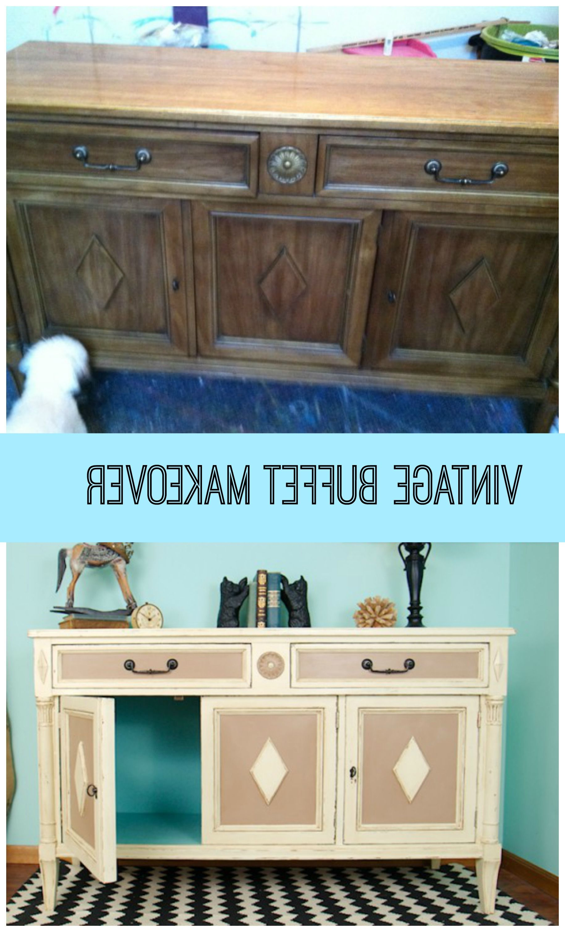 Muebles Life Zwd9 Goodwill Vintage Buffet Makeover Painted Two 2 toned Pinterest