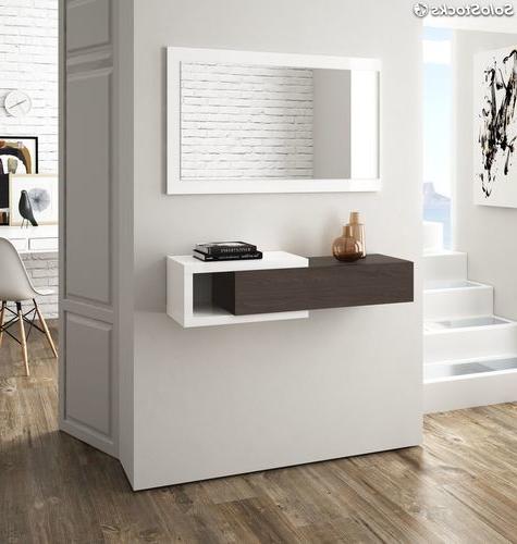 Muebles Para Entradas Y Recibidores 8ydm Recibidor Mueble Para Entrada Con Cajà N Y Espejo Color Blanco Brillo Y toscana