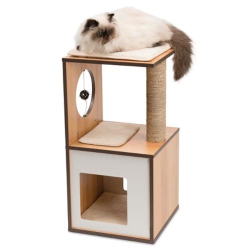 Muebles Para Gatos D0dg Mueble Rascador Pequeà O Para Gatos V Box Vesper Nogal Tiendanimal