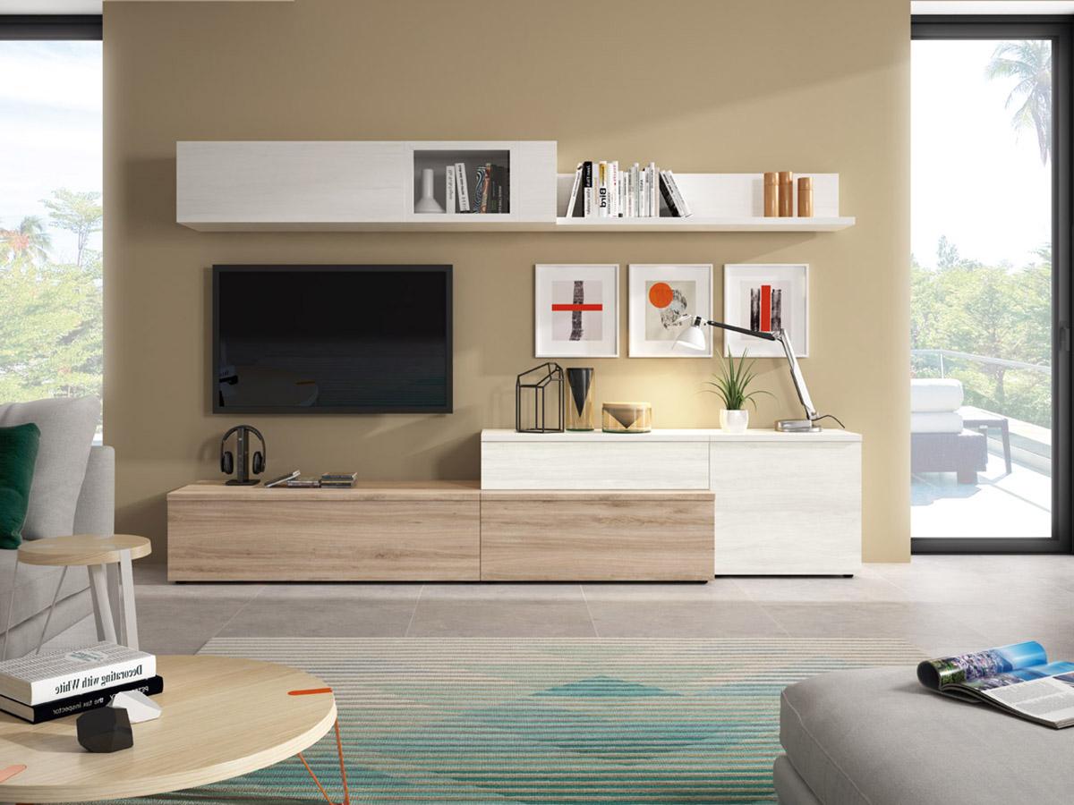 Muebles Salon Blanco Y Madera 3ldq Mueble Salon Tv Edor Madera Melamina Moderno Economico Roble