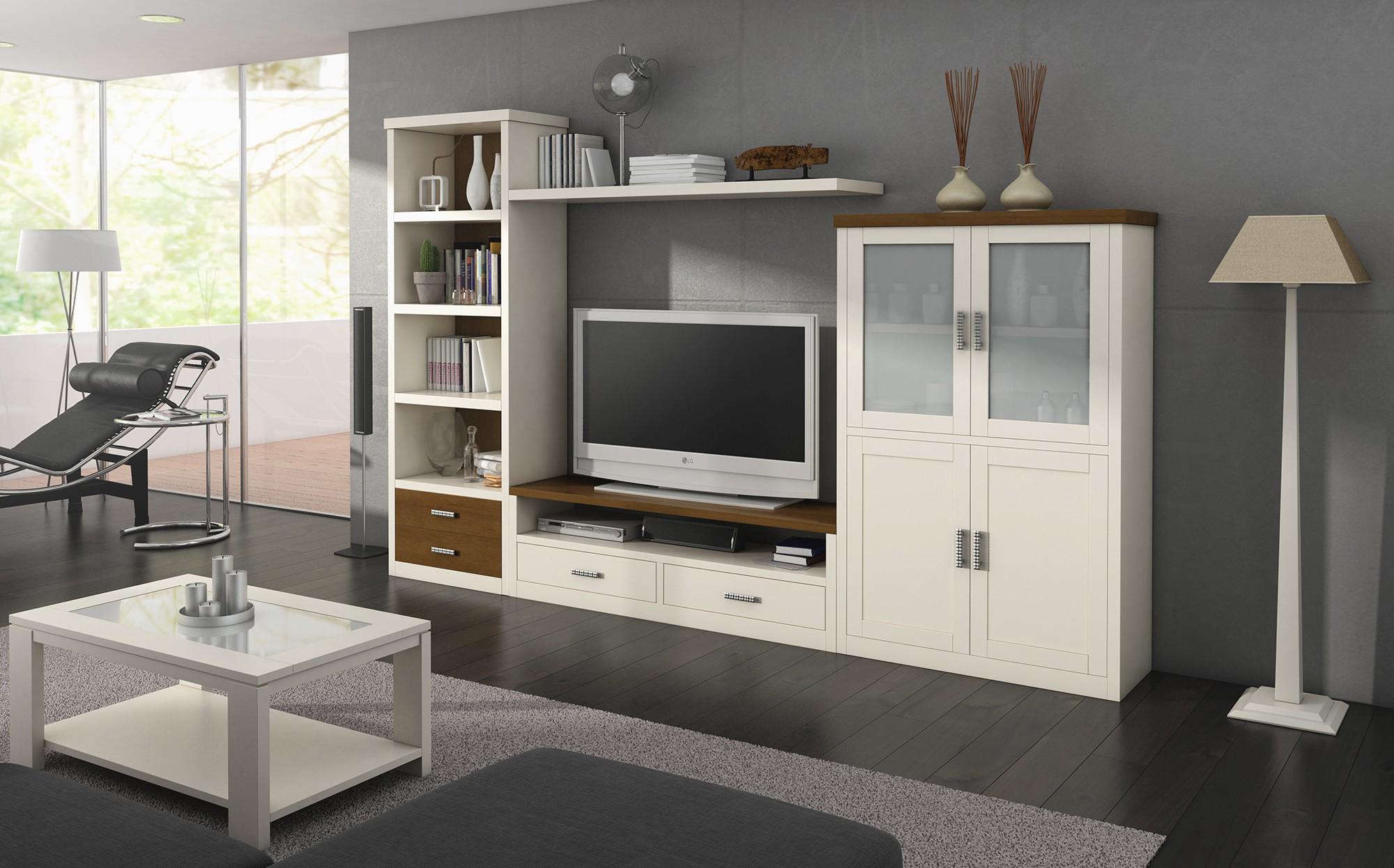 Muebles Salon Blanco Y Madera Dddy Mobiliario Para Salà N En Madera Maciza