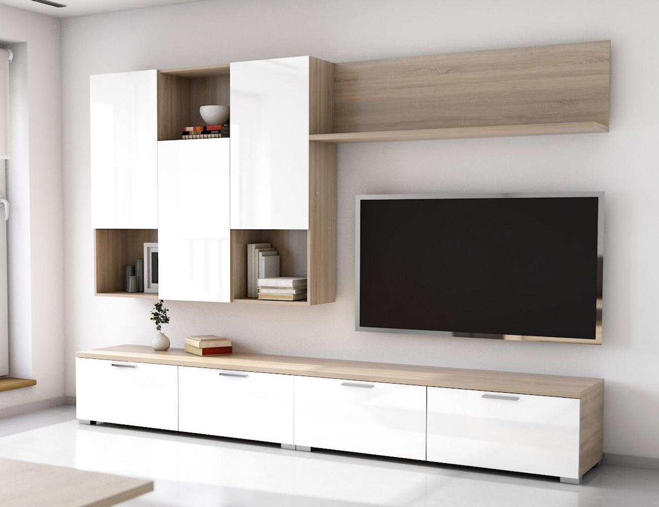 Muebles Salon Blanco Y Madera E9dx Mueble De Salà N Edor Estilo Moderno Roble Con Blanco 4280