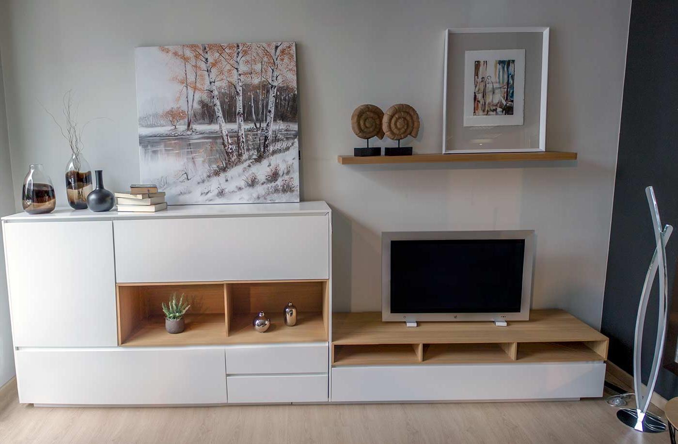 Muebles Salon Blanco Y Madera Kvdd Salà N Nà Rdico En Madera De Roble Y Blanco Alcon Mobiliario