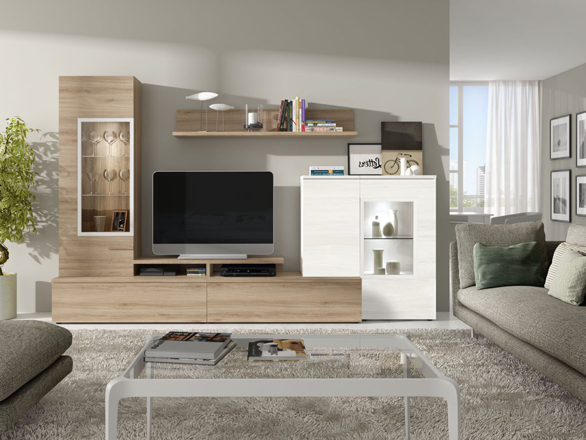 Muebles Salon Blanco Y Madera X8d1 Mueble Salon Tv Edor Madera Melamina Moderno Economico Roble