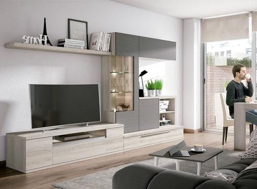 Muebles Salon Moderno 4pde Conjunto Muebles Salà N Moderno Posicià N Irregular Gris Y Madera