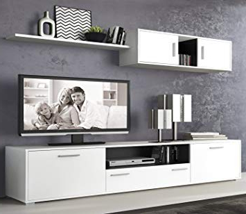 Muebles Salon Moderno Fmdf Liquidatodo  Muebles De Salon Modernos Color Blanco Grafito