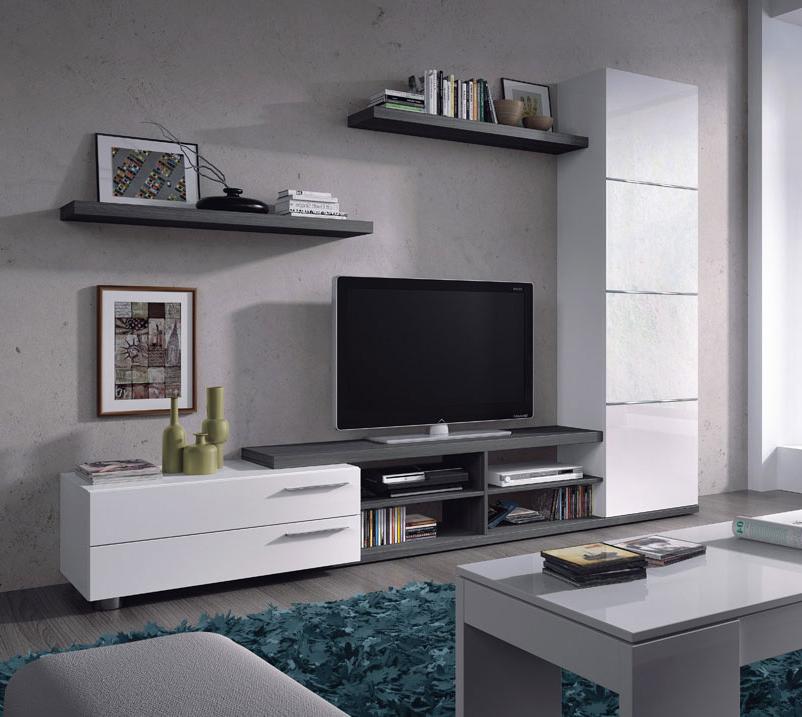 Muebles Salon Modernos Baratos Jxdu Edor Salà N Adhara En Blanco Y Ceniza De 240 Cm