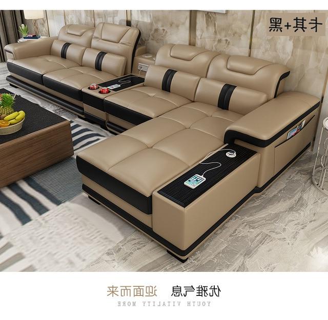 Muebles sofas D0dg Living Room sofa Set Corner sofa Speaker Real Genuine Cow Leather