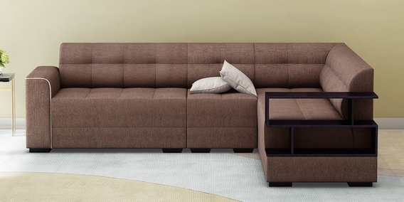 Muebles sofas Txdf Modish Rhs Sectional sofa with Pouffe In Brown Colour by Muebles
