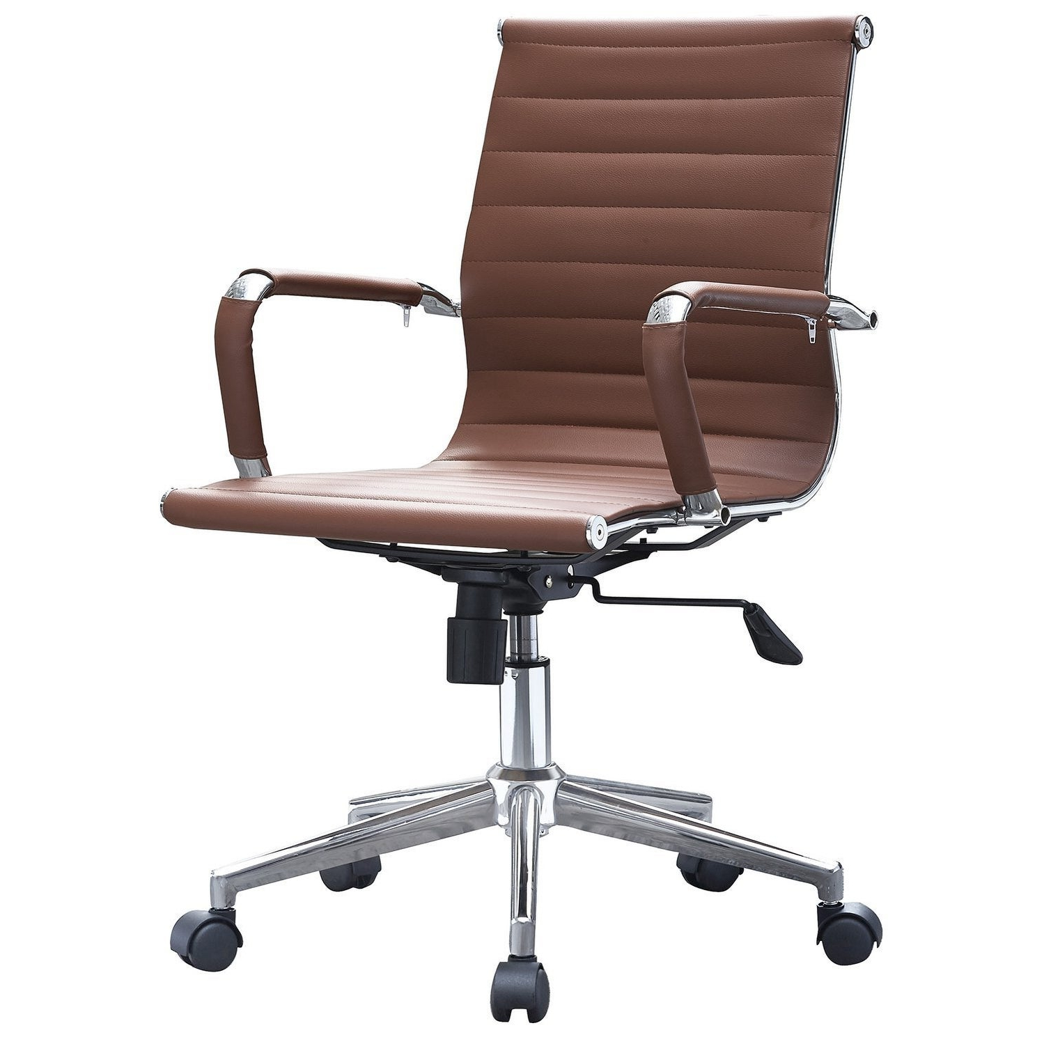 Office Chairs 9fdy 2xhome Brown Mid Back Pu Leather Executive Office Chair Ribbed Tilt Conference Room Boss Home Work Desk Task Guest with Arms