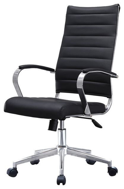 Office Chairs Irdz Ergonomic High Back Swivel Boss Ribbed Pu Leather Office Chair Modern Black