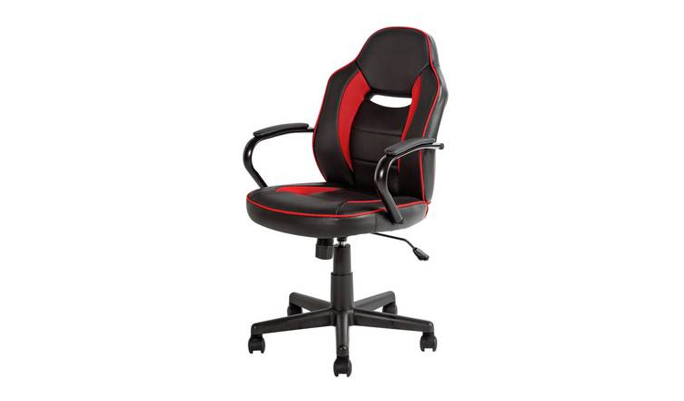 Office Chairs Kvdd Argos Home Faux Leather Office Chair Red Black Office Chairs Argos