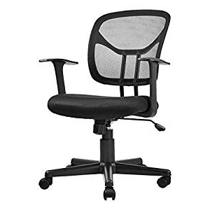 Office Chairs S1du Basics Mid Back Desk Office Chair with Armrests Mesh Back Swivels Black
