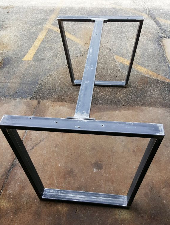 Patas De Madera Para Mesas De Comedor Budm Trapezoid Steel Legs with 1 Brace Model Ttt07b1 Dining Table