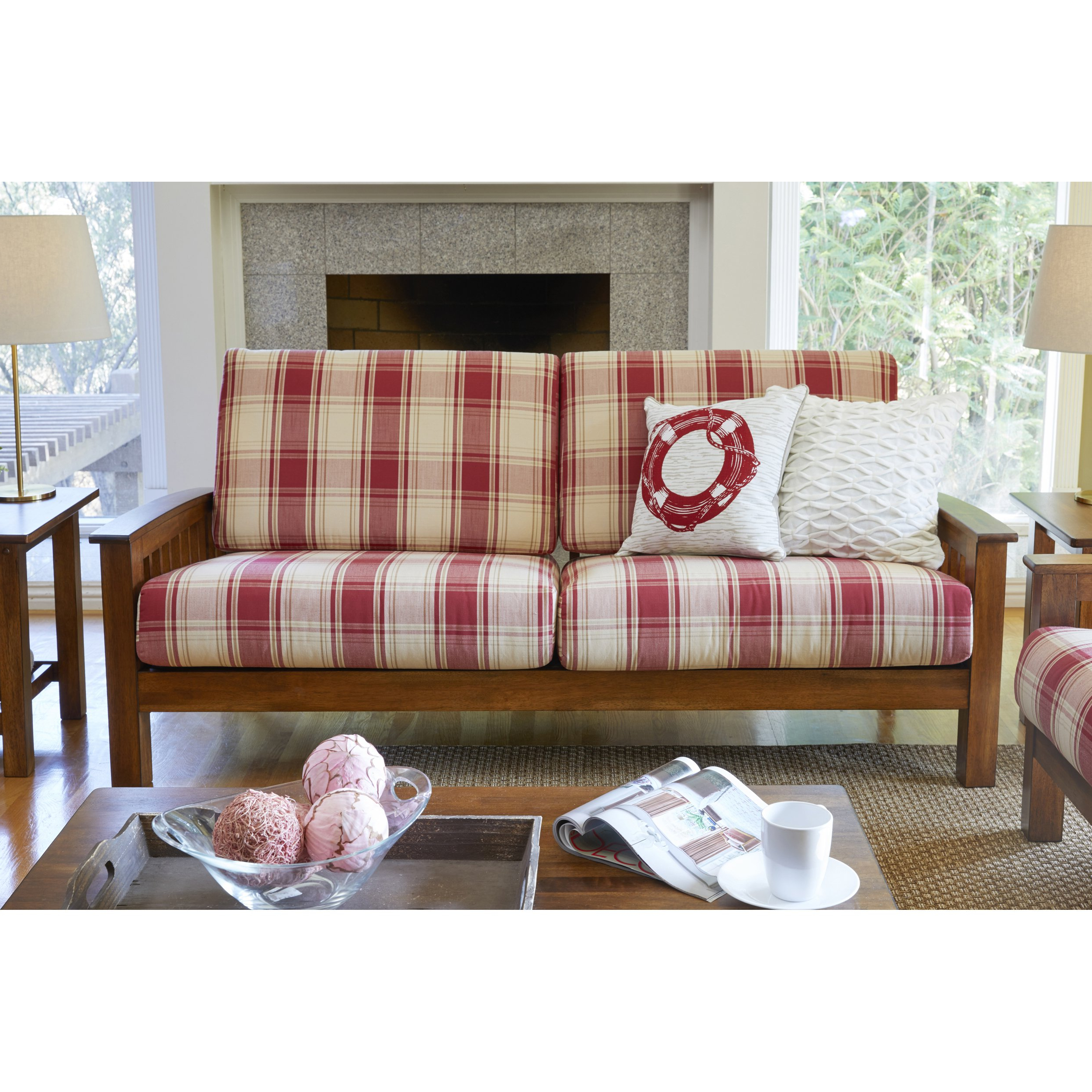 Plaids sofa 3id6 Shop the Gray Barn Mercy Red Plaid Mission Style sofa with Exposed