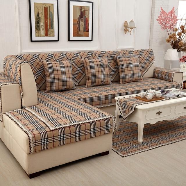 Plaids sofa Dwdk British Brown Plaid sofa Cover Cotton Linen Lace Decor Sectional