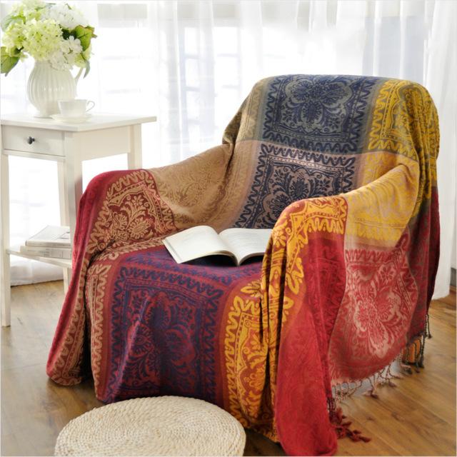 Plaids sofa Ffdn Bohemian Chenille sofa Blanket Cover Decorative Slipcover Throws On