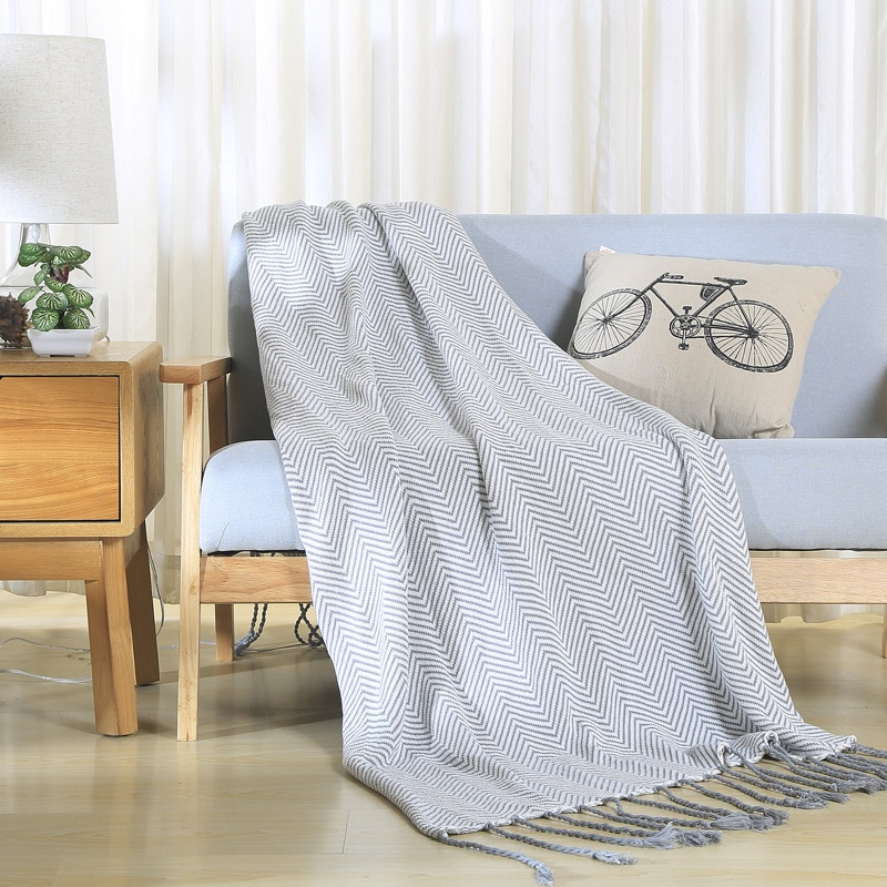 Plaids sofa Ipdd Striped Knitted Blankets for Beds Cotton Grey Tassel Plaids sofa