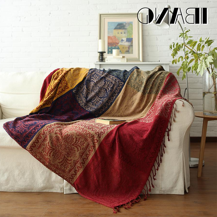 Plaids sofa Kvdd Ibano Bohemian Chenille Plaids Blanket sofa Decorative Throws On