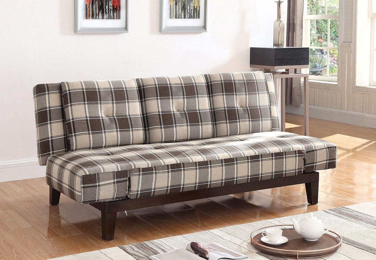 Plaids sofa Q5df Grey and Brown Plaid sofa Bed W Drop Down Console Living Room