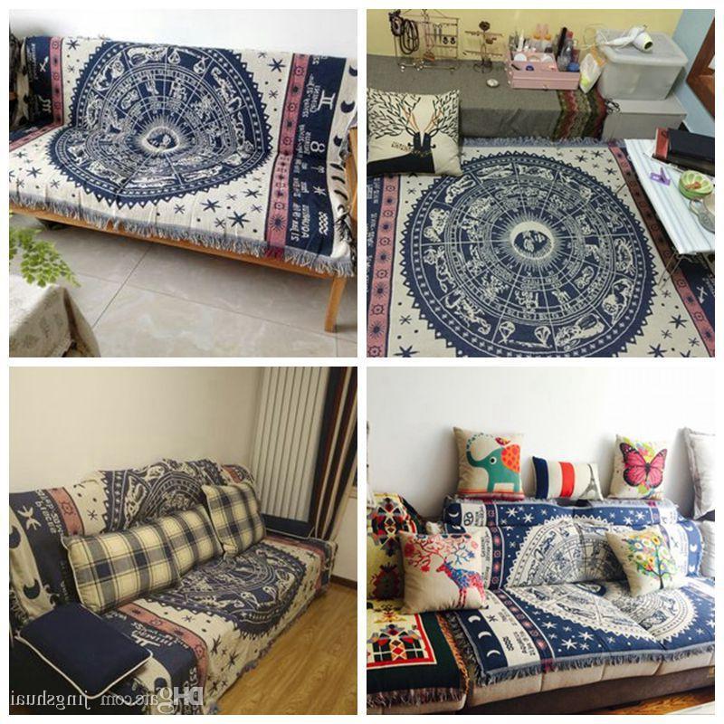 Plaids sofa Rldj Cotton nordic Blue and White Classic Constellation sofa Cover Plaids